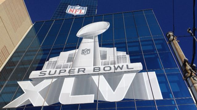 The Logos on the JW Marriott Super Bowl XLVI