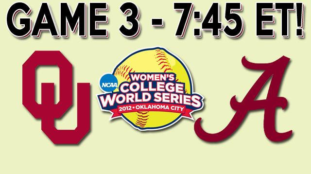 WCWS OU vs Bama Game 3 Time