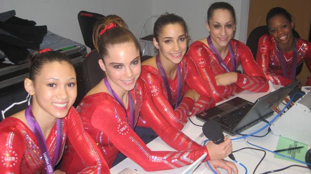 USA gymnasts in studio