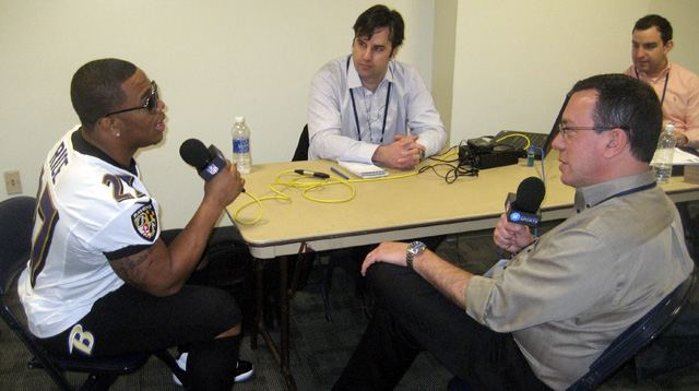 Ray Rice talks with Scott Graham (and the rest of the Westwood One Sports crew) at Super Bowl XLVII.