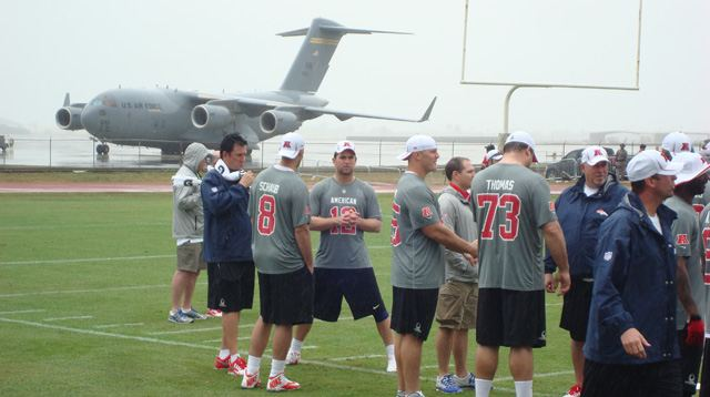 Schaub and Luck during AFC Practice