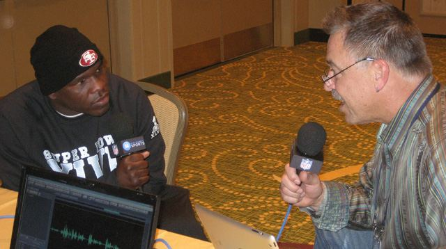 Frank Gore talks with Mark Malone ahead of Super Bowl XLVII.