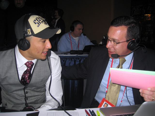 Kenny Vaccaro talks with Scott Graham after being picked by the Saints.