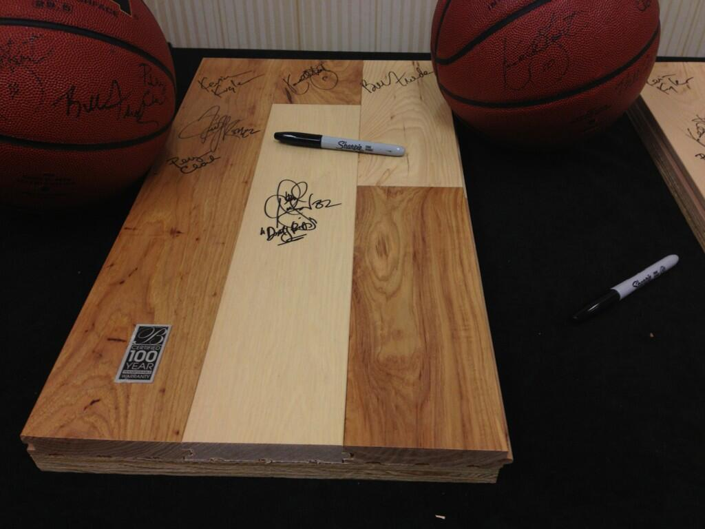 A sample of one of the pieces of flooring -- more signatures being added all weekend!