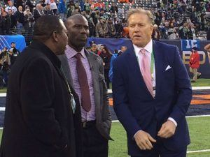 Tom Jackson, Terrell Davis and John Elway before the Big Game