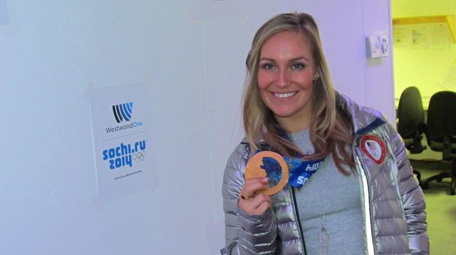 Jamie shows off her gold medal in our WestwoodOne studios in Sochi.