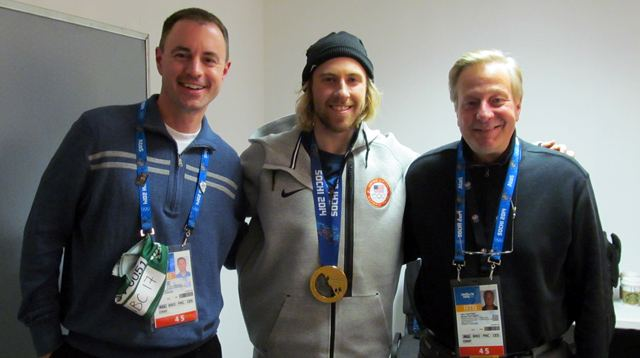 Kevin Kugler, Sage Kotsenburg and John Tautges at the WestwoodOne Olympic Studios.
