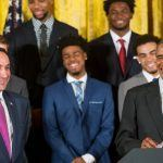 President Barack Obama, accompanied by Duke head coach Mike Krzyzewski, left, speaks in the East Room of the White House in Washington, Tuesday, Sept. 8, 2015, during a ceremony honoring the NCAA Champion Duke Blue Devils menÕs basketball team. (AP Photo/Andrew Harnik)