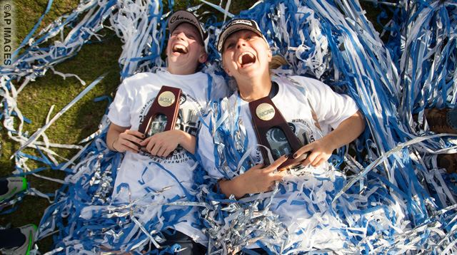 Penn State players celebrate after winning the NCAA Women's College Cup soccer final agasint Duke 2-0 in Cary, N.C., Sunday, Dec. 6, 2015. (AP Photo/Ben McKeown)