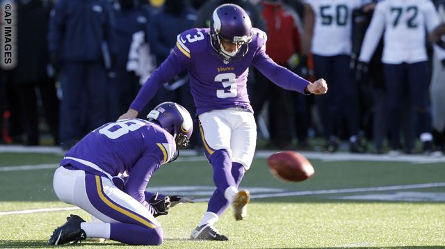 Minnesota Vikings kicker Blair Walsh (3) misses a field goal during the second half of an NFL wild-card football game against the Seattle Seahawks, Sunday, Jan. 10, 2016, in Minneapolis. The Seahawks won 10-9. (AP Photo/Jim Mone)