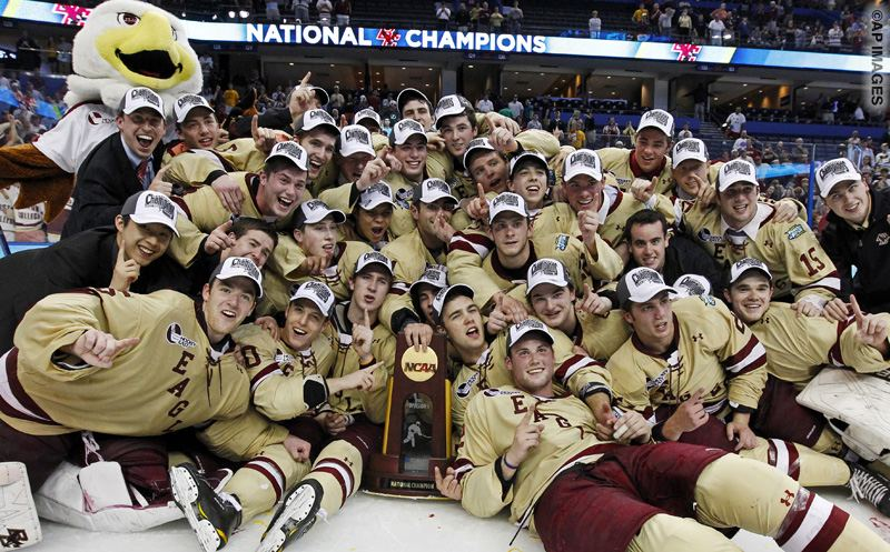 Boston College players celebrate their 4-1 victory over Ferris State in the NCAA Frozen Four college hockey tournament final, Saturday, April 7, 2012, in Tampa, Fla. (AP Photo/Mike Carlson)