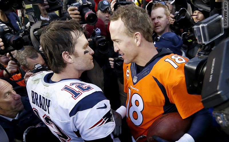New England Patriots quarterback Tom Brady  and Denver Broncos quarterback Peyton Manning speak to one another following the NFL football AFC Championship game between the Denver Broncos and the New England Patriots, Sunday, Jan. 24, 2016, in Denver. The Broncos defeated the Patriots 20-18 to advance to the Super Bowl. (AP Photo/David Zalubowski)