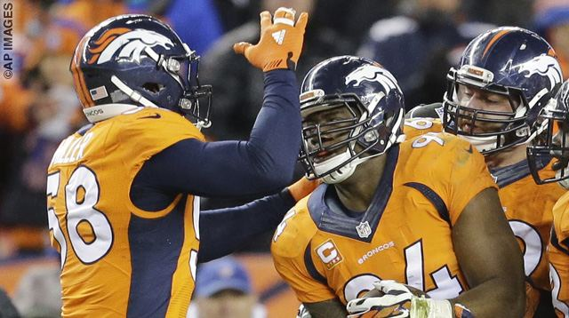 Denver Broncos outside linebacker DeMarcus Ware, right, celebrates a fumble recovery with outside linebacker Von Miller, left, during the second half in an NFL football divisional playoff game against the Pittsburgh Steelers, Sunday, Jan. 17, 2016, in Denver. (AP Photo/Joe Mahoney)