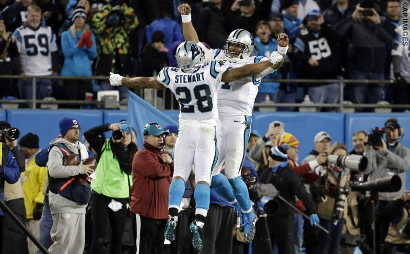 Carolina Panthers' Cam Newton celebrates his touchdown run with Ted Ginn (19) during the second half the NFL football NFC Championship game against the Arizona Cardinals, Sunday, Jan. 24, 2016, in Charlotte, N.C. (AP Photo/Bob Leverone)