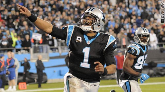 Carolina Panthers quarterback Cam Newton (1) celebrates a touchdown against the Tampa Bay Buccaneers in the first half of an NFL football game in Charlotte, N.C., Sunday, Jan. 3, 2016. (AP Photo/Mike McCarn)
