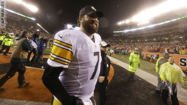 Ben Roethlisberger leaves the field following an NFL wild-card playoff football game against the Cincinnati Bengals Sunday, Jan. 10, 2016, in Cincinnati. Pittsburgh won 18-16. (AP Photo/John Minchillo)