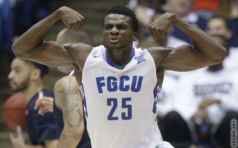 Florida Gulf Coast's Marc Eddy Norelia (25) reacts in the second half of a First Four game of the NCAA college basketball tournament against Fairleigh Dickinson, Tuesday, March 15, 2016, in Dayton, Ohio. (AP Photo/John Minchillo)