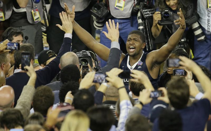 Villanova forward Kris Jenkins celebrates after the NCAA Final Four tournament college basketball championship game against North Carolina Monday, April 4, 2016, in Houston. Villanova won 77-74. (AP Photo/Charlie Neibergall)