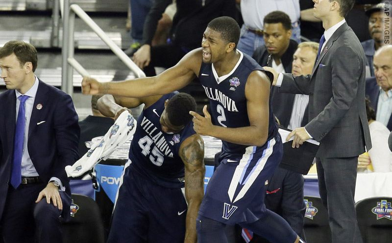 Villanova forward Kris Jenkins (2) reacts to play against North Carolina during the second half of the NCAA Final Four tournament college basketball championship game Monday, April 4, 2016, in Houston. (AP Photo/Charlie Neibergall)