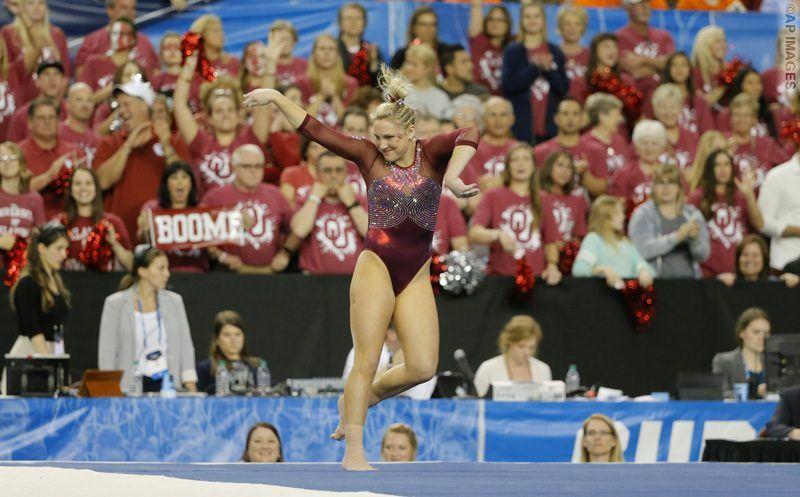 Oklahoma's Charity Jones competes in the floor exercise during the NCAA women's gymnastics championships, Saturday, April 16, 2016, in Fort Worth, Texas. (AP Photo/Tony Gutierrez)