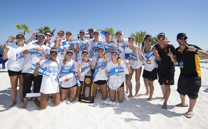 08 MAY 2016:  The University of Southern California celebrates their win over Florida State University during the Division I WomenÕs Beach Volleyball Championship held at the Beach at Gulf Shores in Gulf Shores, AL.  USC defeated Florida State 3-0 for the national title.  Jamie Schwaberow/NCAA Photos