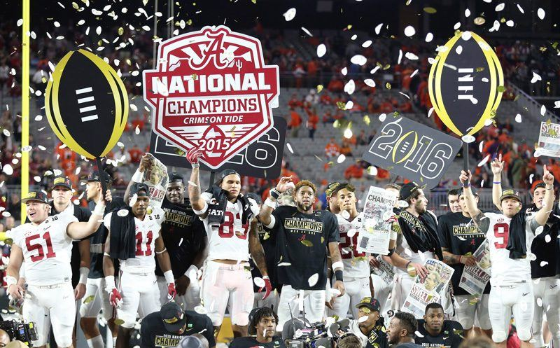Alabama players celebrate after the defeated Clemson 45-40 to win the Playoff Championship NCAA football game, Monday, Jan. 11, 2016, in Glendale, AZ. (AP Photo/Butch Dill)