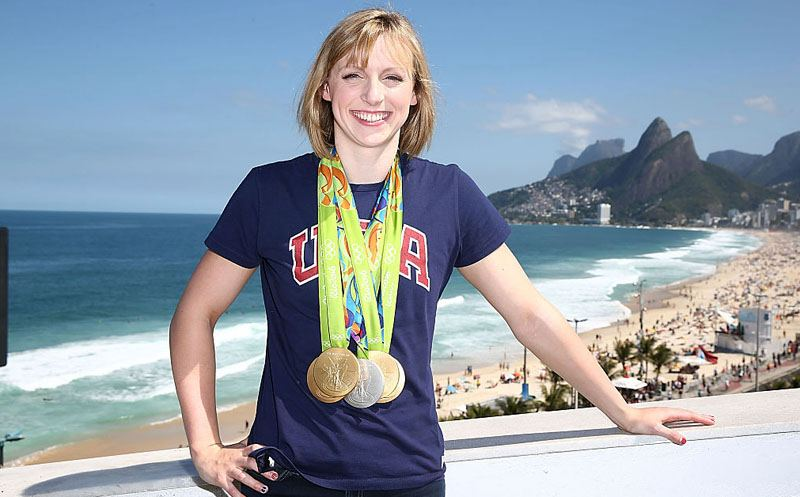RIO DE JANEIRO, BRAZIL - AUGUST 13:  U.S. Olympian Katie Ledecky poses with her Olympic Medals on the Citi Terrace of the USA House at Colegio Sao Paulo on August 13, 2016 in Rio de Janeiro, Brazil.  (Photo by Joe Scarnici/Getty Images)