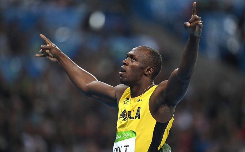 RIO DE JANEIRO, BRAZIL - AUGUST 18:  Usain Bolt of Jamaica celebrates after winning the Men's 200m Final on Day 13 of the Rio 2016 Olympic Games at the Olympic Stadium on August 18, 2016 in Rio de Janeiro, Brazil.  (Photo by Shaun Botterill/Getty Images)