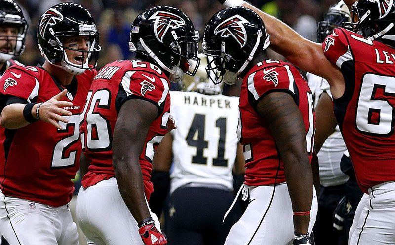 NEW ORLEANS, LA - SEPTEMBER 26: Tevin Coleman #26 of the Atlanta Falcons celebrates his touchdown during the first half of a game against the New Orleans Saints at the Mercedes-Benz Superdome on September 26, 2016 in New Orleans, Louisiana.  (Photo by Jonathan Bachman/Getty Images)