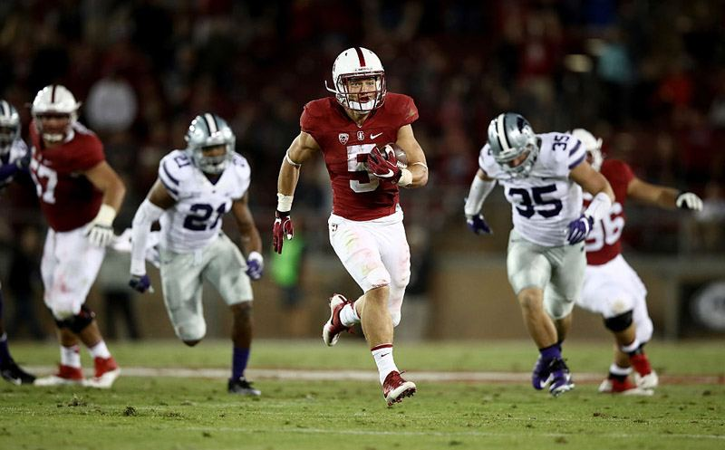 PALO ALTO, CA - SEPTEMBER 02:  Christian McCaffrey #5 of the Stanford Cardinal runs in for a touchdown against the Kansas State Wildcats at Stanford Stadium on September 2, 2016 in Palo Alto, California.  (Photo by Ezra Shaw/Getty Images)