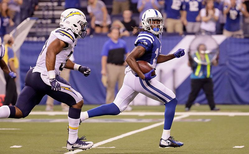 INDIANAPOLIS, IN - SEPTEMBER 25:  T.Y. Hilton #13 of the Indianapolis Colts looks back at Adrian Phillips #31 of the San Diego Chargers as he runs for 63-yard touchdown during the fourth quarter of the game at Lucas Oil Stadium on September 25, 2016 in Indianapolis, Indiana.  (Photo by Andy Lyons/Getty Images)