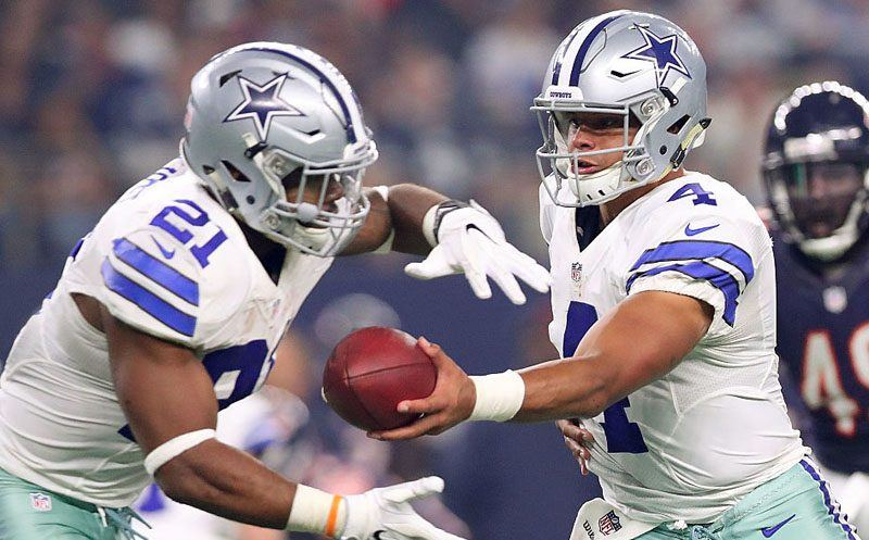 ARLINGTON, TX - SEPTEMBER 25:  Dak Prescott #4 hands off to Ezekiel Elliott #21 in the first quarter during a game between the Dallas Cowboys and the Chicago Bears at AT&T Stadium on September 25, 2016 in Arlington, Texas.  (Photo by Tom Pennington/Getty Images)