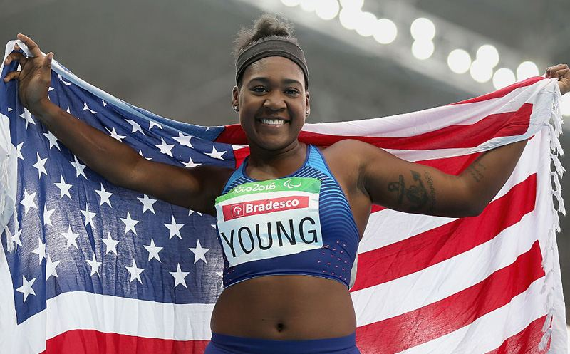 RIO DE JANEIRO, BRAZIL - SEPTEMBER 16:  Deja Young of the United States celebrates winning the gold medal in the Women's 200m - T47 final on day 9 of the Rio 2016 Paralympic Games at the Olympic Stadium on September 16, 2016 in Rio de Janeiro, Brazil.  (Photo by Friedemann Vogel/Getty Images)