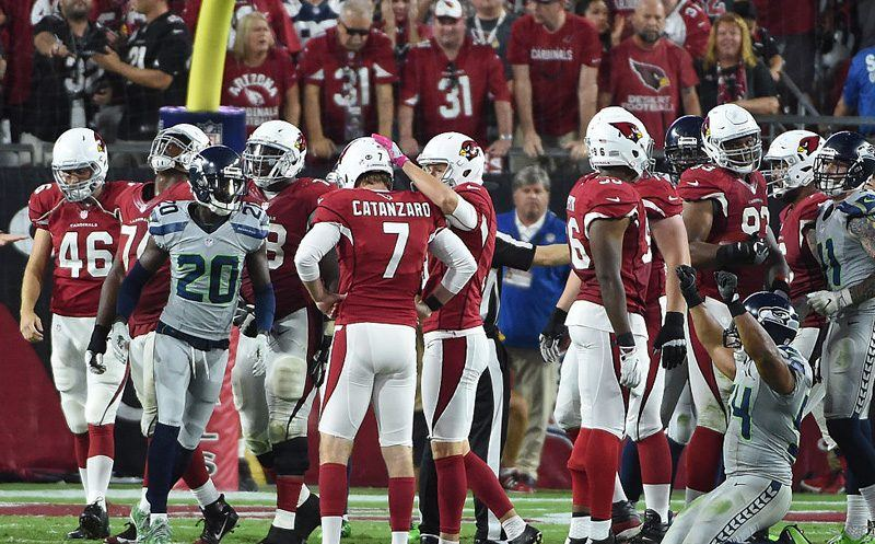 GLENDALE, AZ - OCTOBER 23:  Kicker Chandler Catanzaro #7 of the Arizona Cardinals reacts with punter Ryan Quigley #9 after missing a field goal attempt in overtime against the Seattle Seahawks at University of Phoenix Stadium on October 23, 2016 in Glendale, Arizona. The Seattle Seahawks and Arizona Cardinals tie 6-6.  (Photo by Norm Hall/Getty Images)
