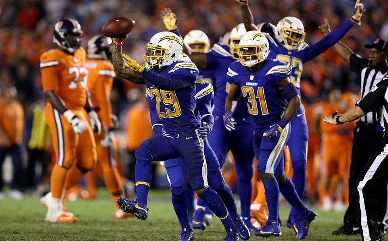 SAN DIEGO, CA - OCTOBER 13:  Craig Mager #29 and  Adrian Phillips #31 of the San Diego Chargers  reacts to recovering a fumble during the second half of a game against the Denver Broncos at Qualcomm Stadium on October 13, 2016 in San Diego, California.  (Photo by Sean M. Haffey/Getty Images)