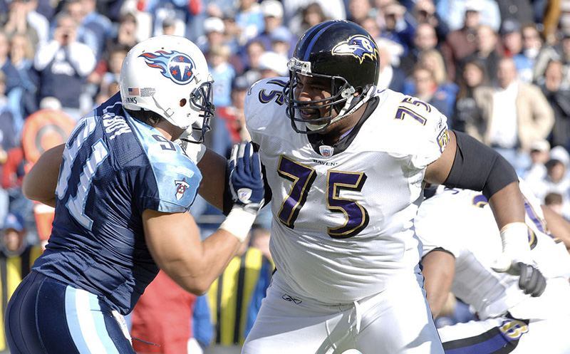 Ravens tackle Jonathan Ogden blocks Titans defensive lineman Travis LaBoy at LP Field, Nashville, Tennessee, November 12, 2006. The Ravens came from behind to defeat the Titans 27-26. (Photo by Joe Murphy/NFLPhotoLibrary)