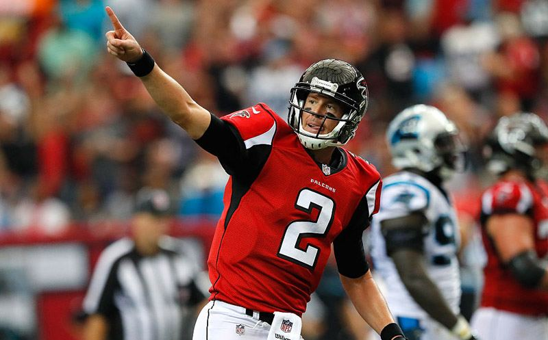 ATLANTA, GA - OCTOBER 02:  Matt Ryan #2 of the Atlanta Falcons reacts after passing for a touchdown to Aldrick Robinson #19 against the Carolina Panthers at Georgia Dome on October 2, 2016 in Atlanta, Georgia.  (Photo by Kevin C. Cox/Getty Images)