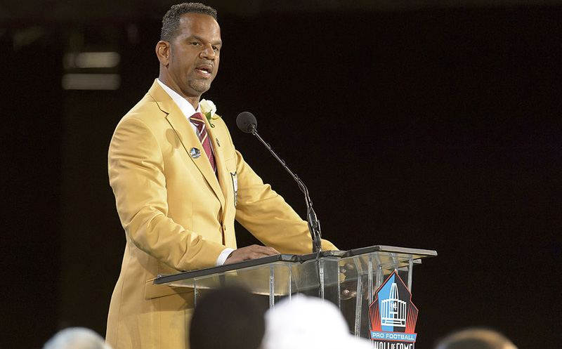CANTON, OH - AUGUST 2: Former NFL wide receiver Andre Reed gives his speech during the NFL Class of 2014 Pro Football Hall of Fame Enshrinement Ceremony at Fawcett Stadium on August 2, 2014 in Canton, Ohio. (Photo by Jason Miller/Getty Images)