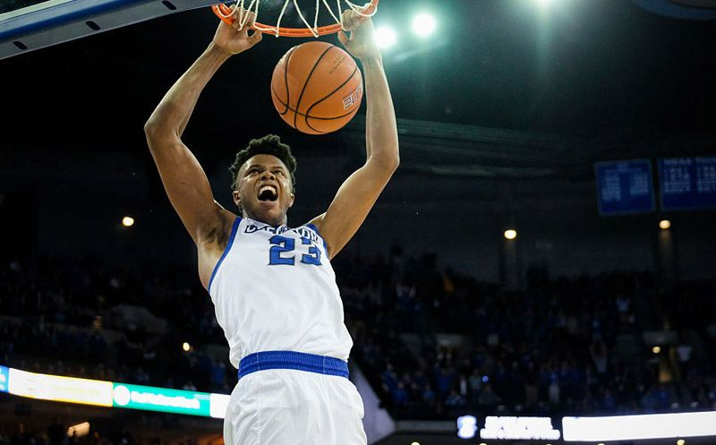 OMAHA, NE - NOVEMBER 15: Justin Patton #23 of the Creighton Bluejays dunks during their game against the Wisconsin Badgers at the CenturyLink Center on November 15, 2016 in Omaha, Nebraska. (Photo by Eric Francis/Getty Images)