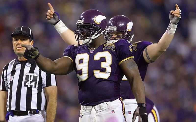 06 Jan 2001:  Defensive tackle John Randle #93 of the Minnesota Vikings riles up the crowd against the New Orleans Saints at the Metrodome in Minneapolis, Minnesota.   The Vikings won 34-16 to advance to the NFC Championship.   Mandatory Credit: Brian Bahr/ALLSPORT