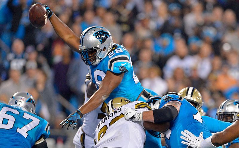 CHARLOTTE, NC - NOVEMBER 17:  Jonathan Stewart #28 of the Carolina Panthers scores a touchdown against the New Orleans Saints in the 2nd quarter during the game at Bank of America Stadium on November 17, 2016 in Charlotte, North Carolina.  (Photo by Grant Halverson/Getty Images)