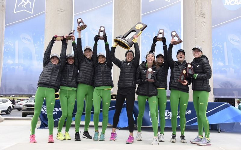 TERRE HAUTE - NOVEMBER 19:  The University of Oregon celebrates their first place finish during the Division I Men's and Women's Cross Country Championship held at the Wabash Valley Family Sports Center on November 19, 2016 in Terre Haute, Indiana.  Oregon won the national title with 125 points. (Photo by Jamie Schwaberow/NCAA Photos via Getty Images)