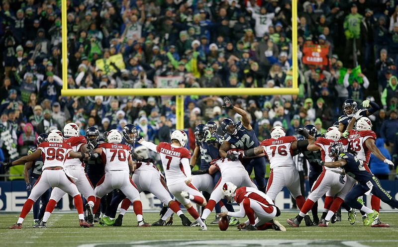 SEATTLE, WA - DECEMBER 24:  Kicker Chandler Catanzaro #7 of the Arizona Cardinals kicks the game-winning field goal against the Seattle Seahawks at CenturyLink Field on December 24, 2016 in Seattle, Washington.  (Photo by Otto Greule Jr/Getty Images)