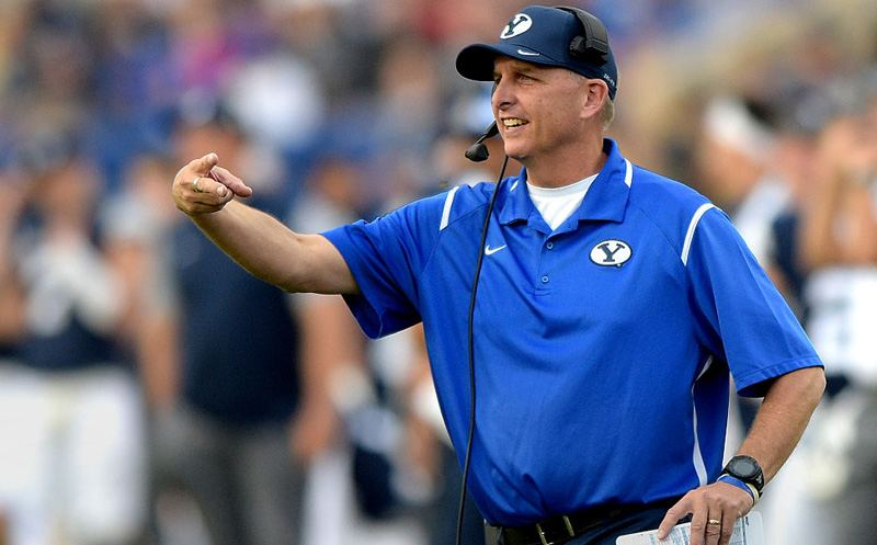 PROVO, UT - NOVEMBER 12: Brigham Young Cougars offensive coordinator Ty Detmer signals from the sideline in the fourth quarter of the Cougars 37-7 win over the Southern Utah Thunderbirds at LaVell Edwards Stadium on November 12, 2016 in Provo Utah. (Photo by Gene Sweeney Jr/Getty Images)