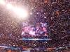 Eli on the screen as confetti rains down