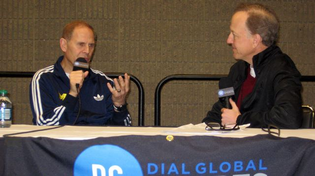 John Beilein talks with Jim Gray at the Final Four in Atlanta.