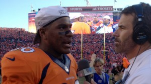 Julius Thomas talks with Tim Ryan after the AFC Championship Game.