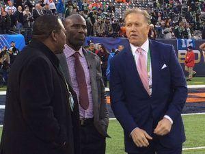 Tom Jackson, Terrell Davis and John Elway before the Big Game