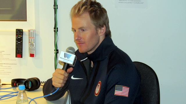 Ted Ligety in our WestwoodOne studios in Sochi.